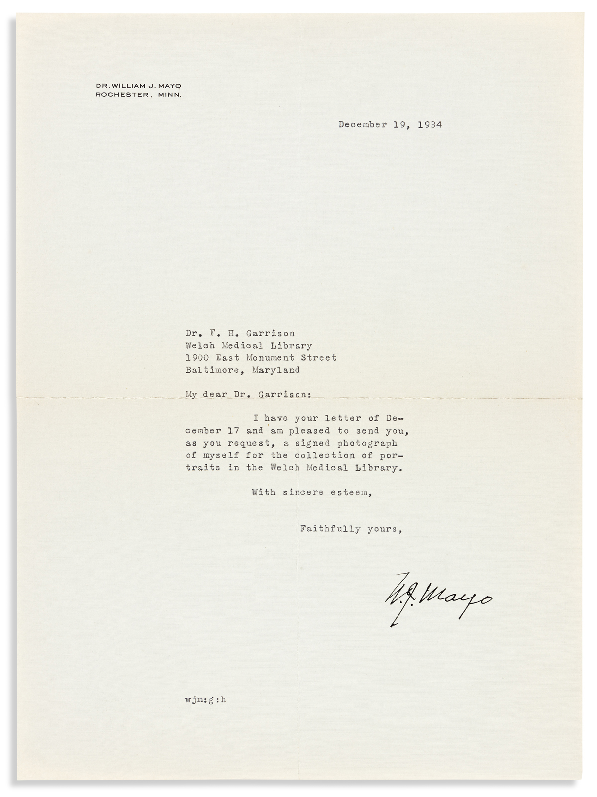(MEDICINE.) MAYO, WILLIAM J. Brief Typed Letter Signed, W.J. Mayo, to Dr. F.H. Garrison,