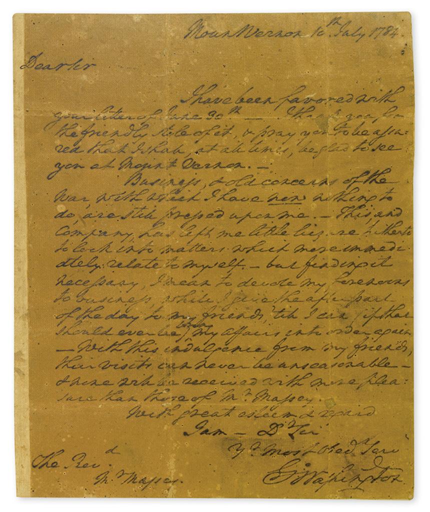 WASHINGTON, GEORGE. Autograph Letter Signed, G:Washington, to Lee Massey,