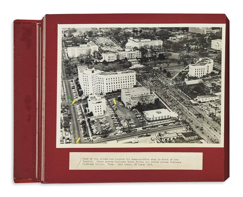 (CIVIL RIGHTS.) Album of aerial views of the historic march on Montgomery, taken by the federal troops assigned to protect them.