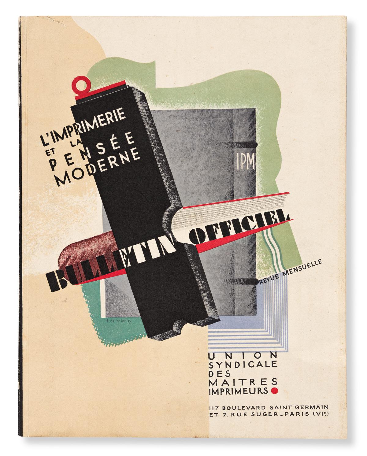 VARIOUS ARTISTS.  L'IMPRIMERIE ET LA PENSÉE MODERNE / BULLETIN OFFICIEL. Book. 1928. 12½x9¾ inches, 31¾x24¾ cm. Union Syndicale des Mai