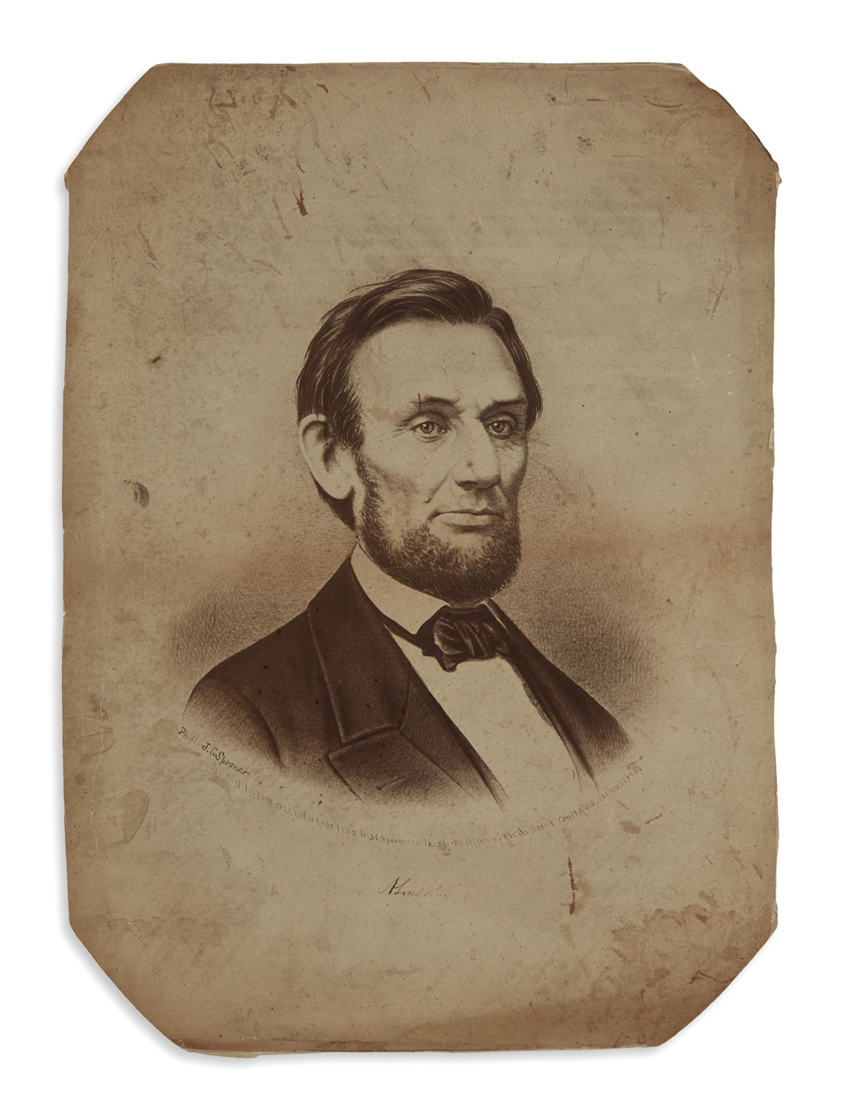 (PHOTOGRAPHY)-Spooner-JC;-artist-and-photographer-Large-early-photograph-of-a-Lincoln-painting