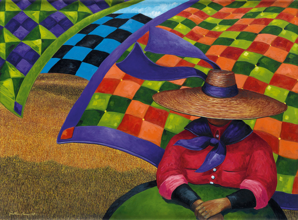 JONATHAN GREEN (1955 -   ) Quilts in the Wind.