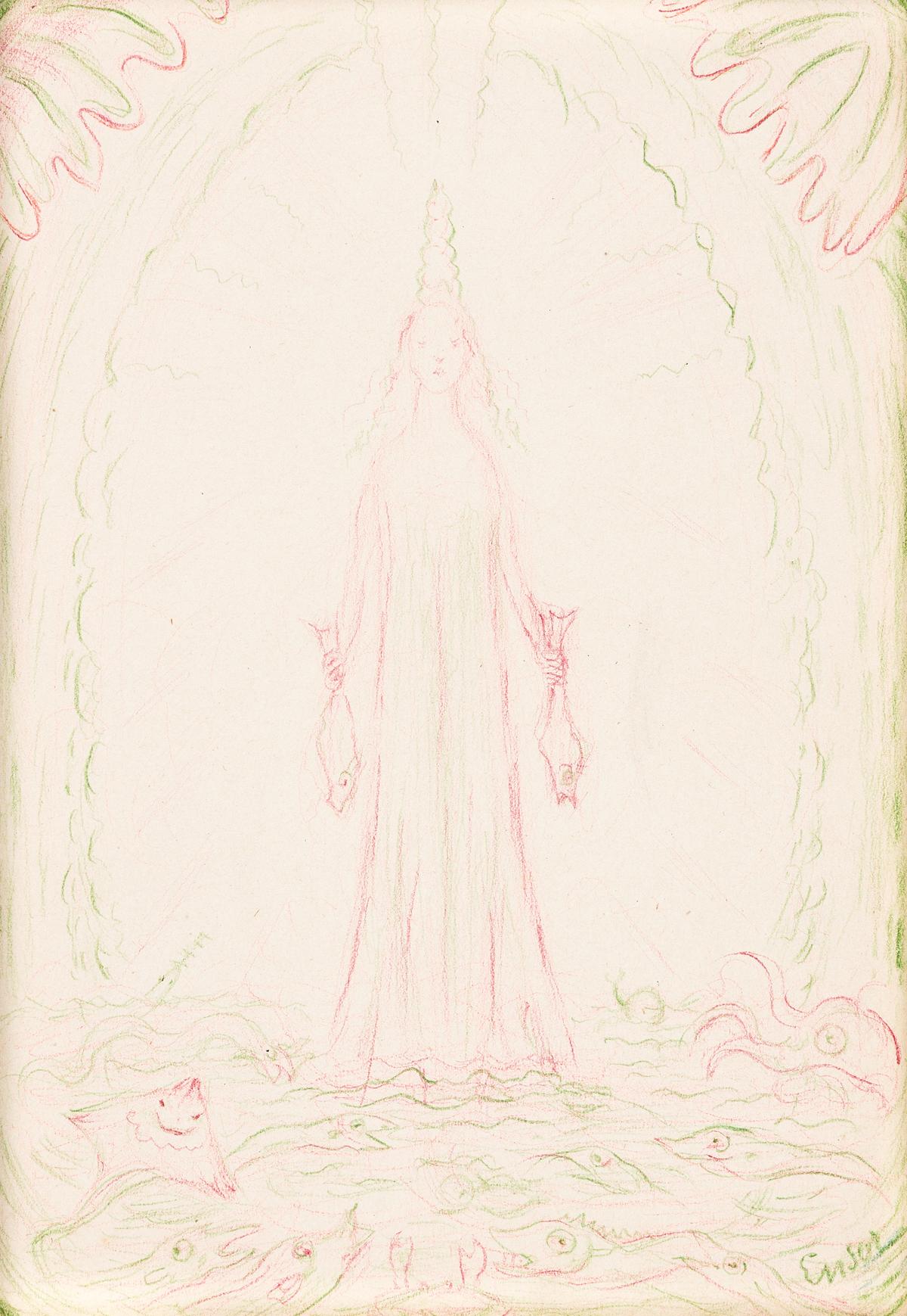 JAMES ENSOR (1860 - 1949, BELGIAN) Vierge aux Poissons.