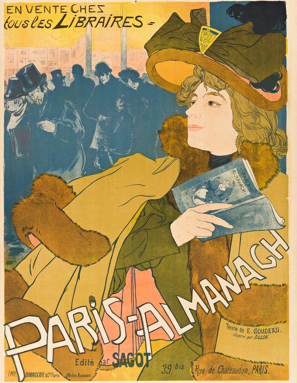 GEORGES DE FEURE (1868-1943).  PARIS - ALMANACH. 1894. 31x24 inches, 80x62 cm. Bourgerie & Cie., Paris.