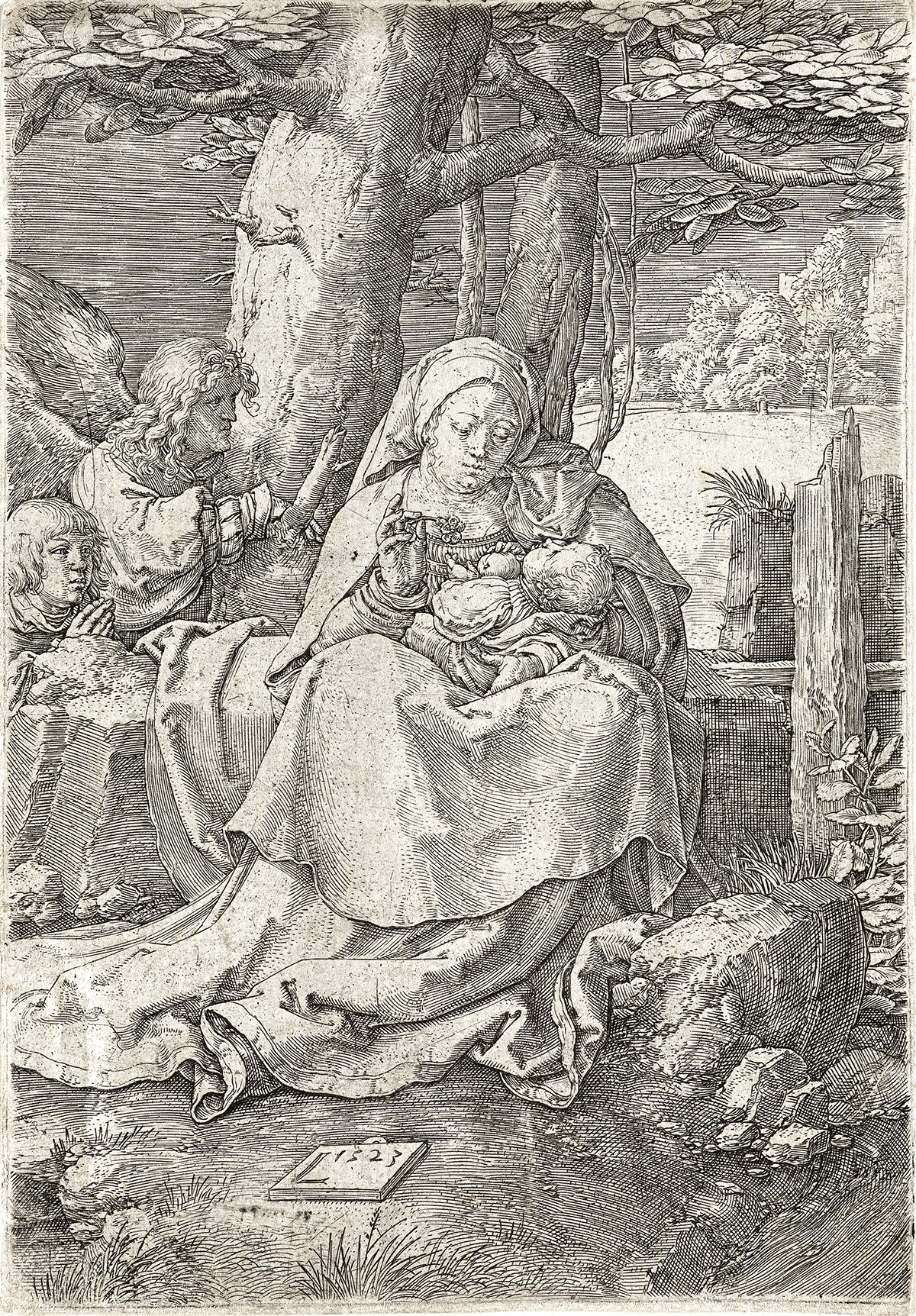 LUCAS-VAN-LEYDEN-Virgin-and-Child-with-Two-Angels