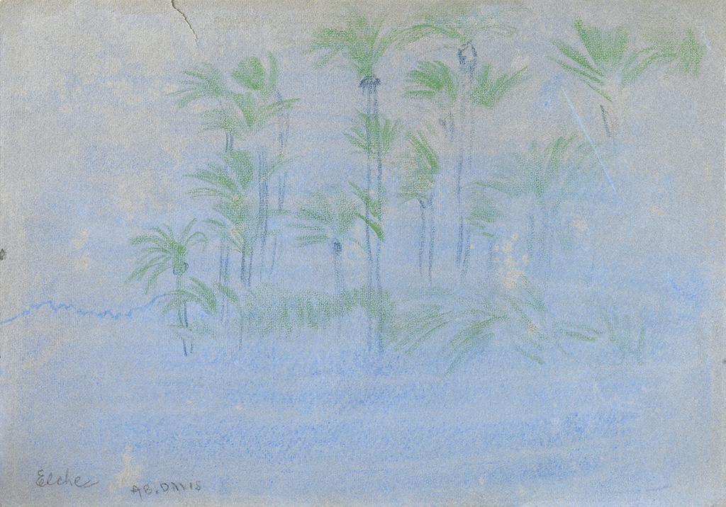 ARTHUR-B-DAVIES-Three-landscape-watercolors-with-color-paste