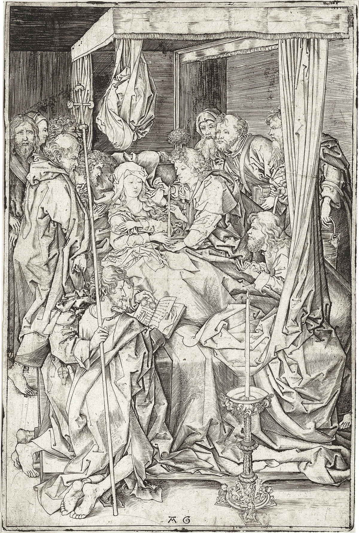 MASTER-AG-(after-Schongauer)-The-Death-of-the-Virgin