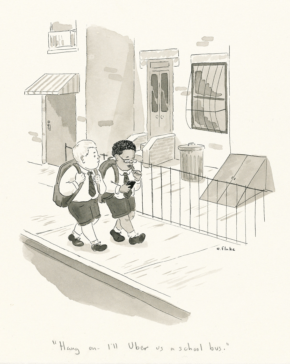 THE-NEW-YORKER-EMILY-FLAKE-Hang-on---Ill-Uber-us-a-school-bu