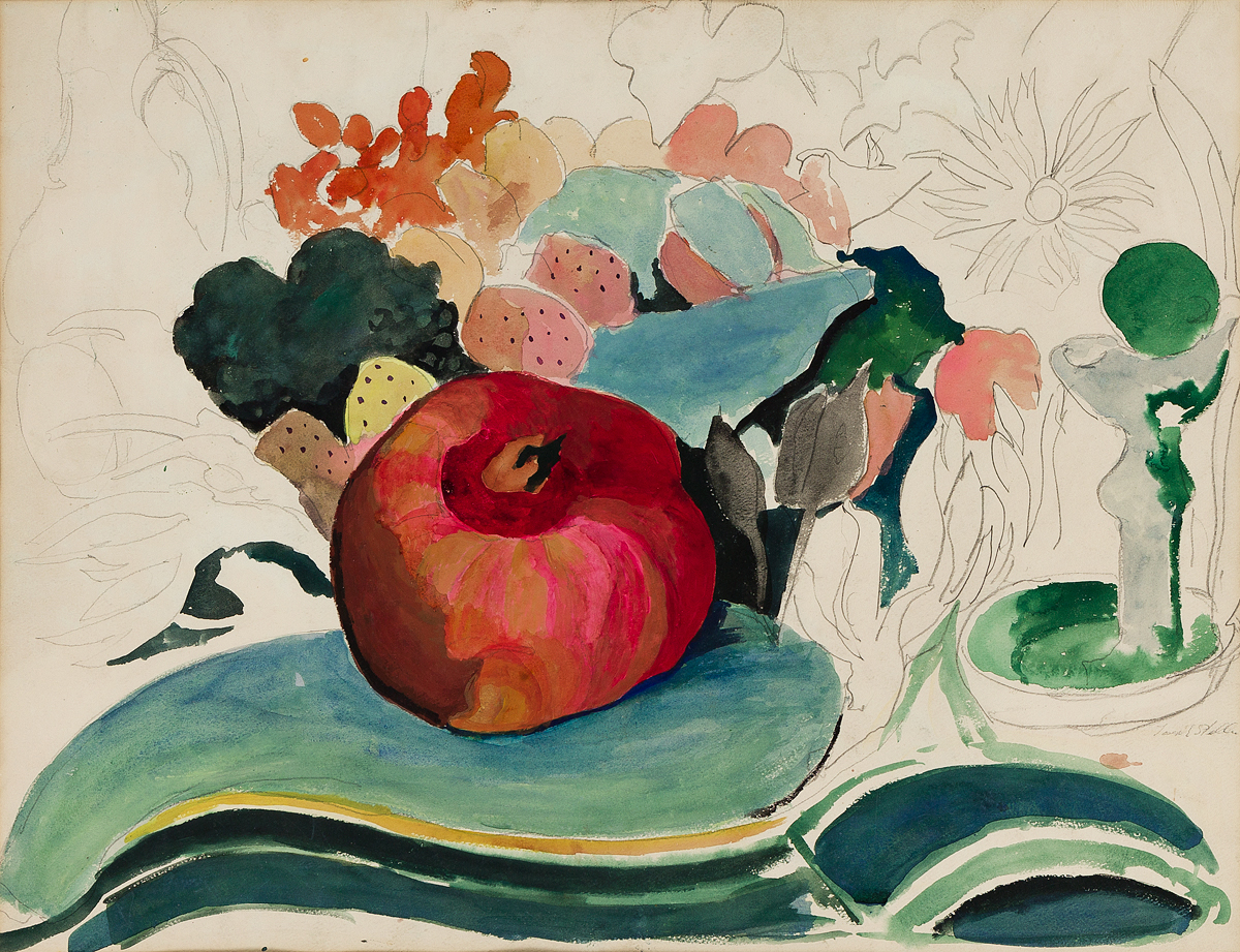 JOSEPH STELLA Still Life with a Pomegranate and Flowers.