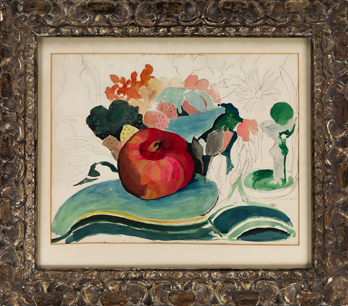 JOSEPH-STELLA-Still-Life-with-a-Pomegranate-and-Flowers