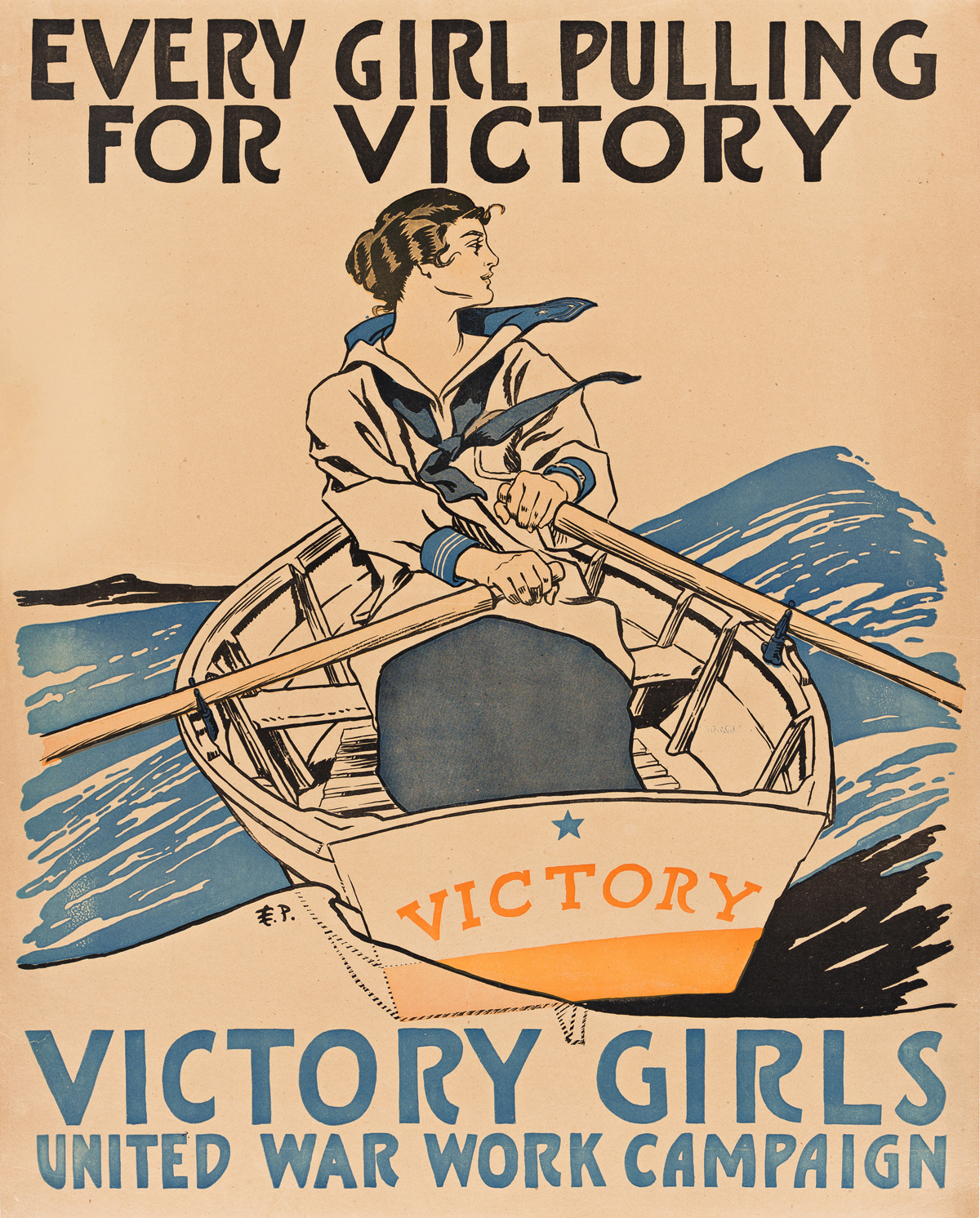EDWARD PENFIELD (1866-1925).  EVERY GIRL PULLING FOR VICTORY / VICTORY GIRLS. Circa 1918. 27¾x22¼ inches, 70½x56½ cm.