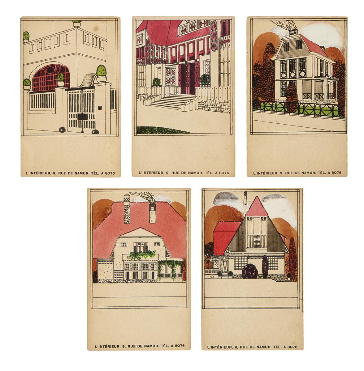 (DESIGN / ARCHITECTURE.) Sneyers, Léon. Group of 15 publicity postcards for lIntérieur.