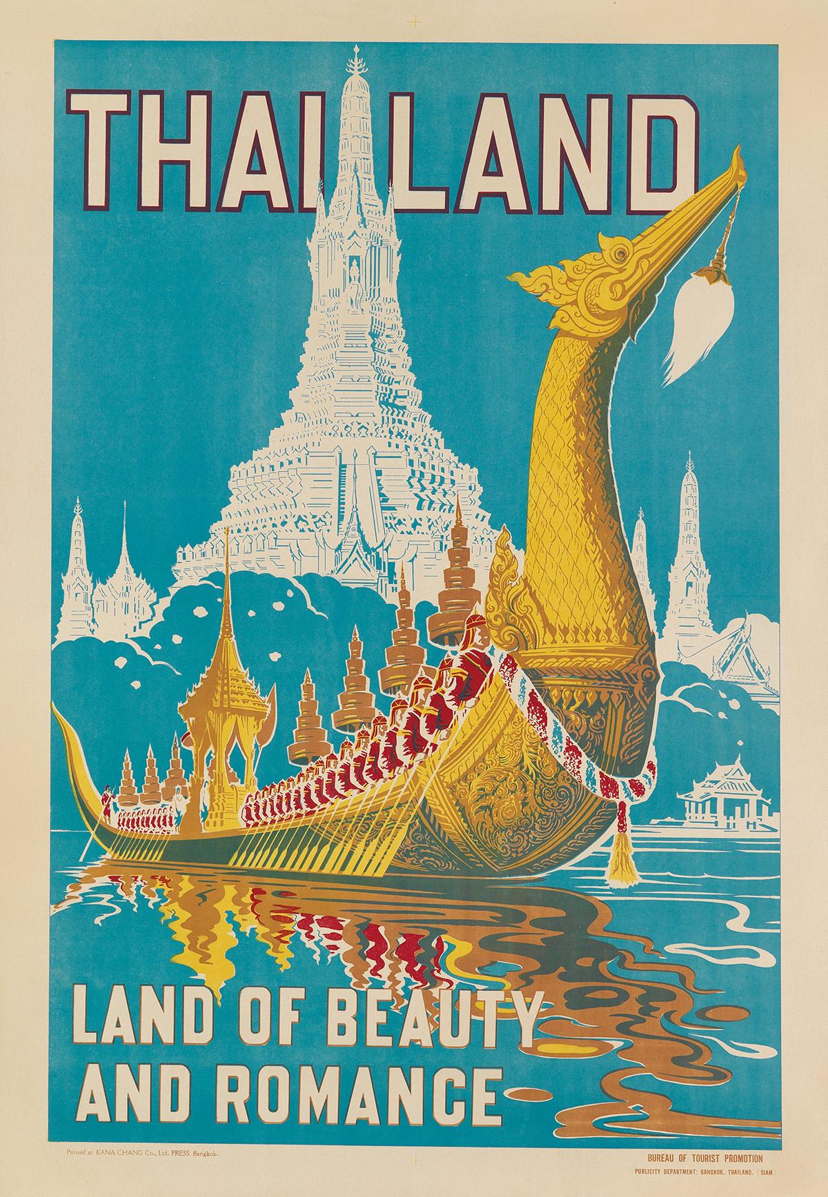 DESIGNER-UNKNOWN-THAILAND--LAND-OF-BEAUTY-AND-ROMANCE-Circa-1950s-31x21-inches-78x55-cm-Kana-Chang-Co-Ltd-Bangkok