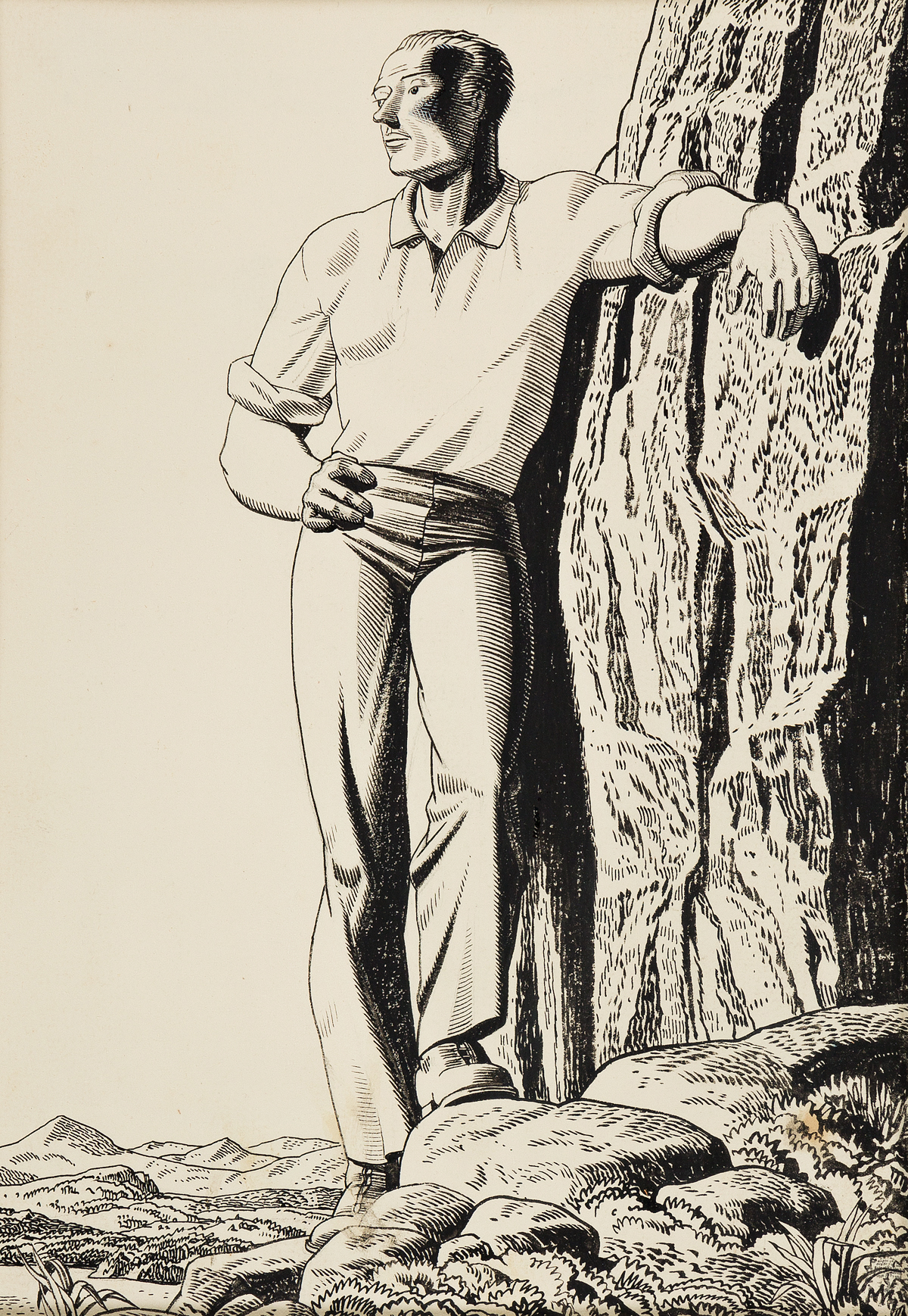 ROCKWELL-KENT-A-Man-on-a-Rocky-Outcropping