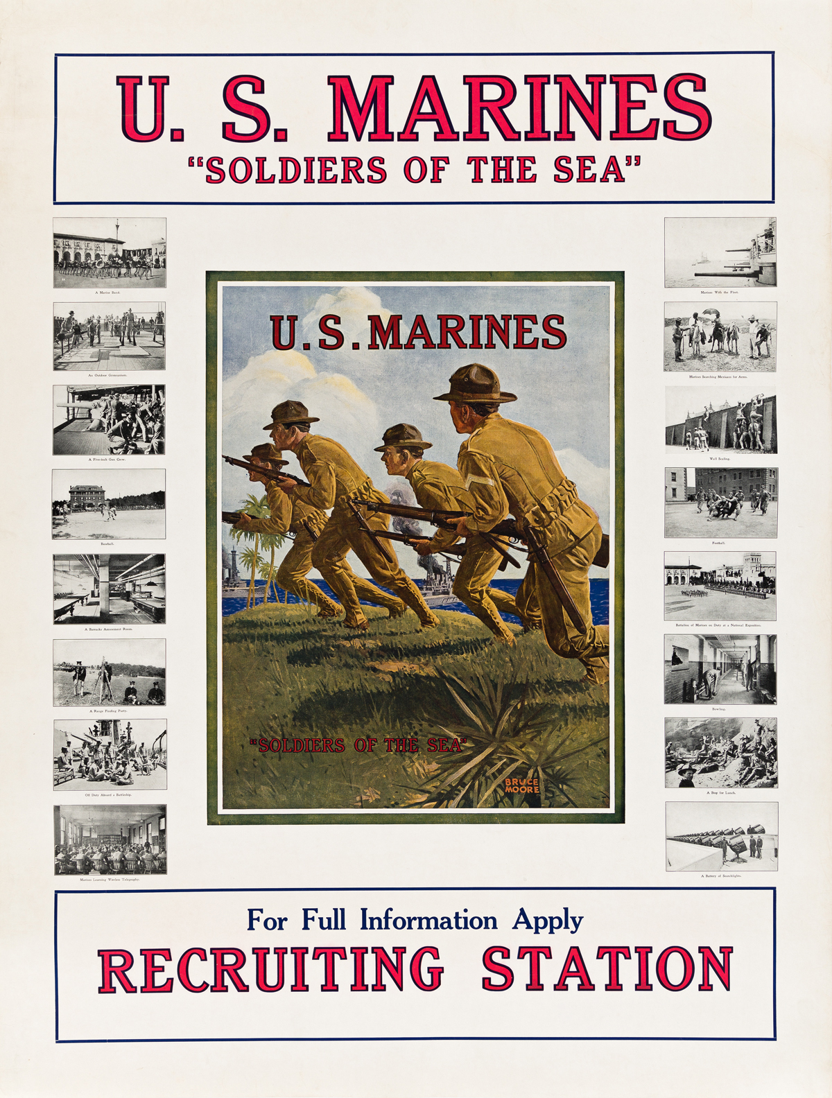 BRUCE MOORE (1905-1980).  U.S. MARINES / SOLDIERS OF THE SEA. Circa 1917. 39¾x30¼ inches, 101x76¾ cm.