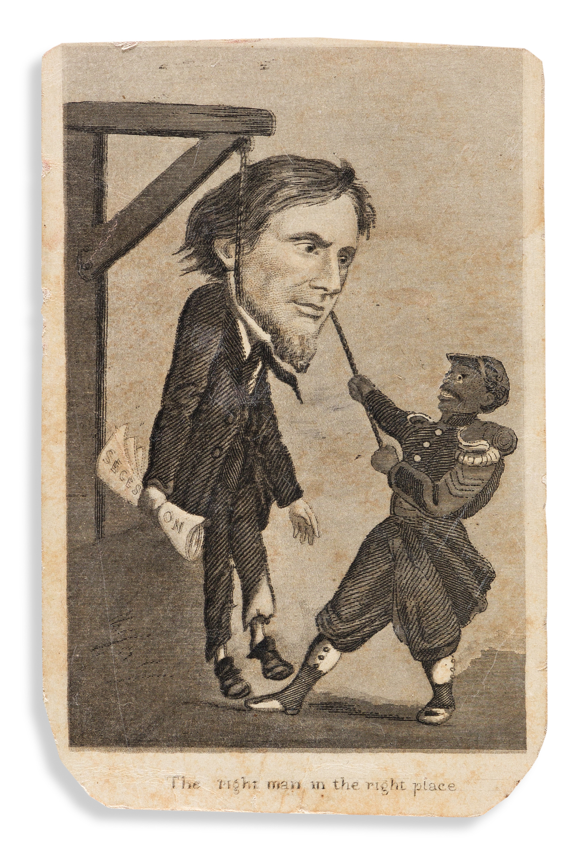 (SLAVERY AND ABOLITION.) The Right Man in the Right Place caricature of justice for Jefferson Davis.