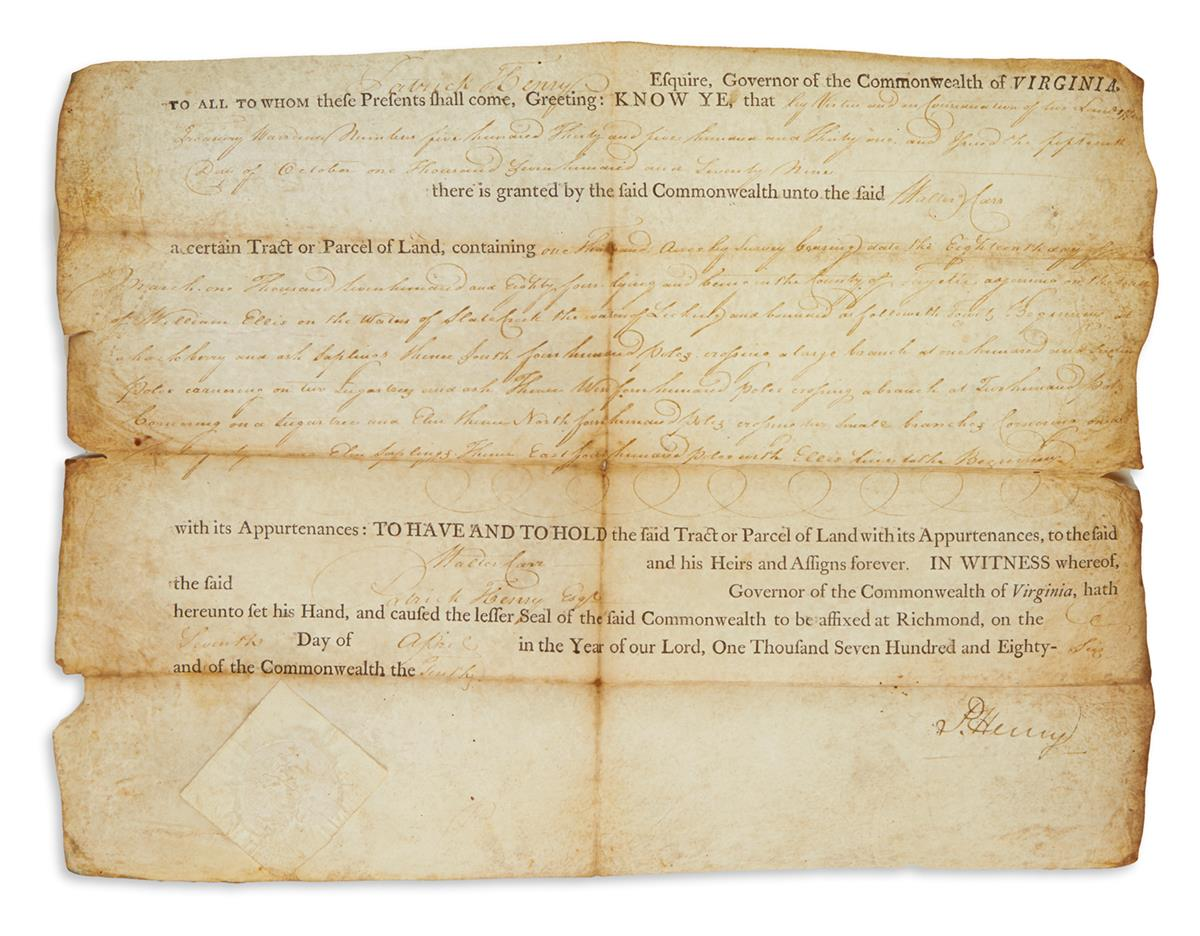 HENRY, PATRICK. Partly-printed vellum Document Signed, P. Henry, as Governor,
