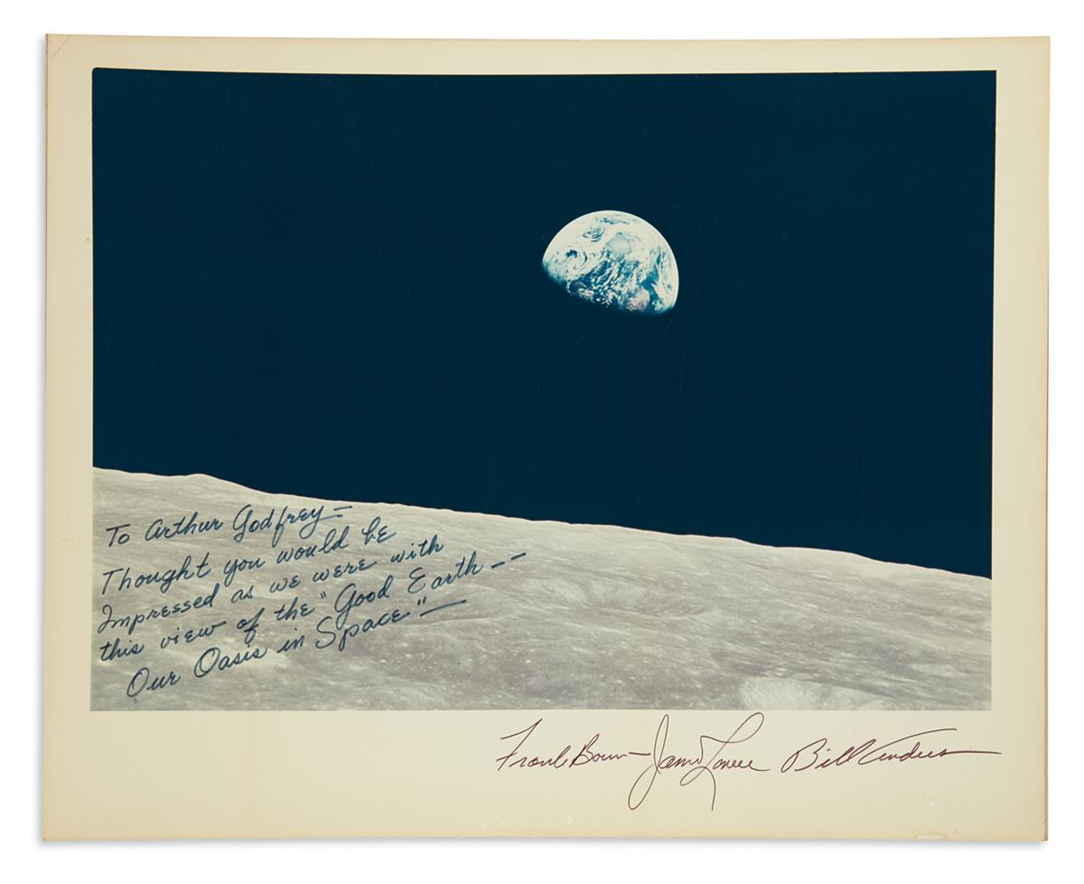 (ASTRONAUTS--APOLLO 8.) Large color Photograph Signed by all three members of the prime crew: William A. Anders * Frank F. Borman II *