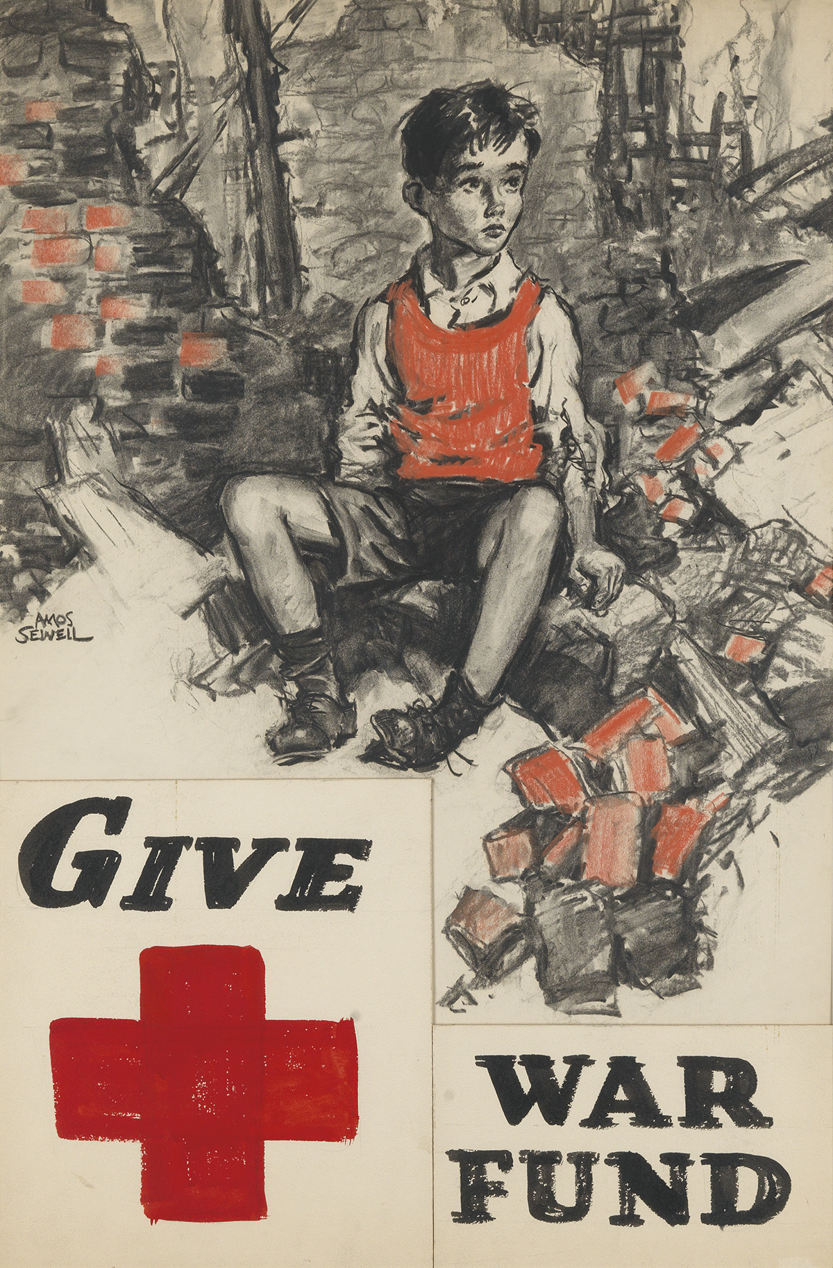 ADVERTISING-POSTER-AMOS-SEWELL-Red-Cross--Give-War-Fund