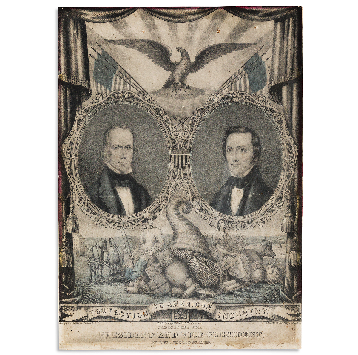 (PRESIDENTS--1844 CAMPAIGN.) Protection to American Industry: Candidates for President and Vice-President.