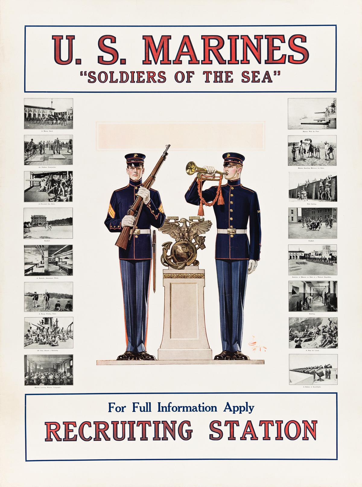 JOSEPH C. LEYENDECKER (1874-1951).  U.S. MARINES / SOLDIERS OF THE SEA. Circa 1917. 40¼x30 inches, 102¼x76¼ cm.