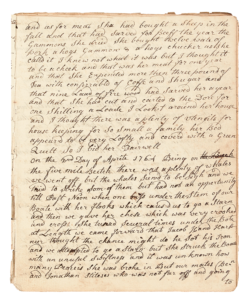 (WHALING.) [Cresse, Lewis.] Manuscript journal of an early Cape May whaler.