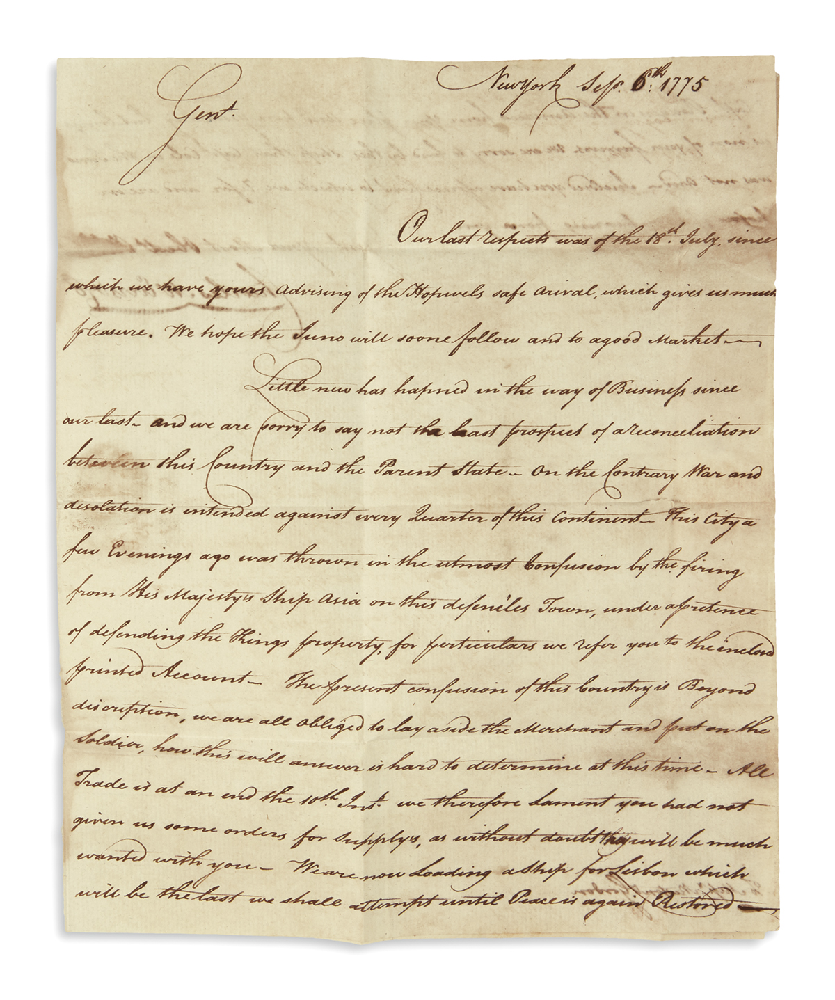 (AMERICAN REVOLUTION--1775.) Charles McEvers & Co. Letters describing unrest and British artillery fire in New York.
