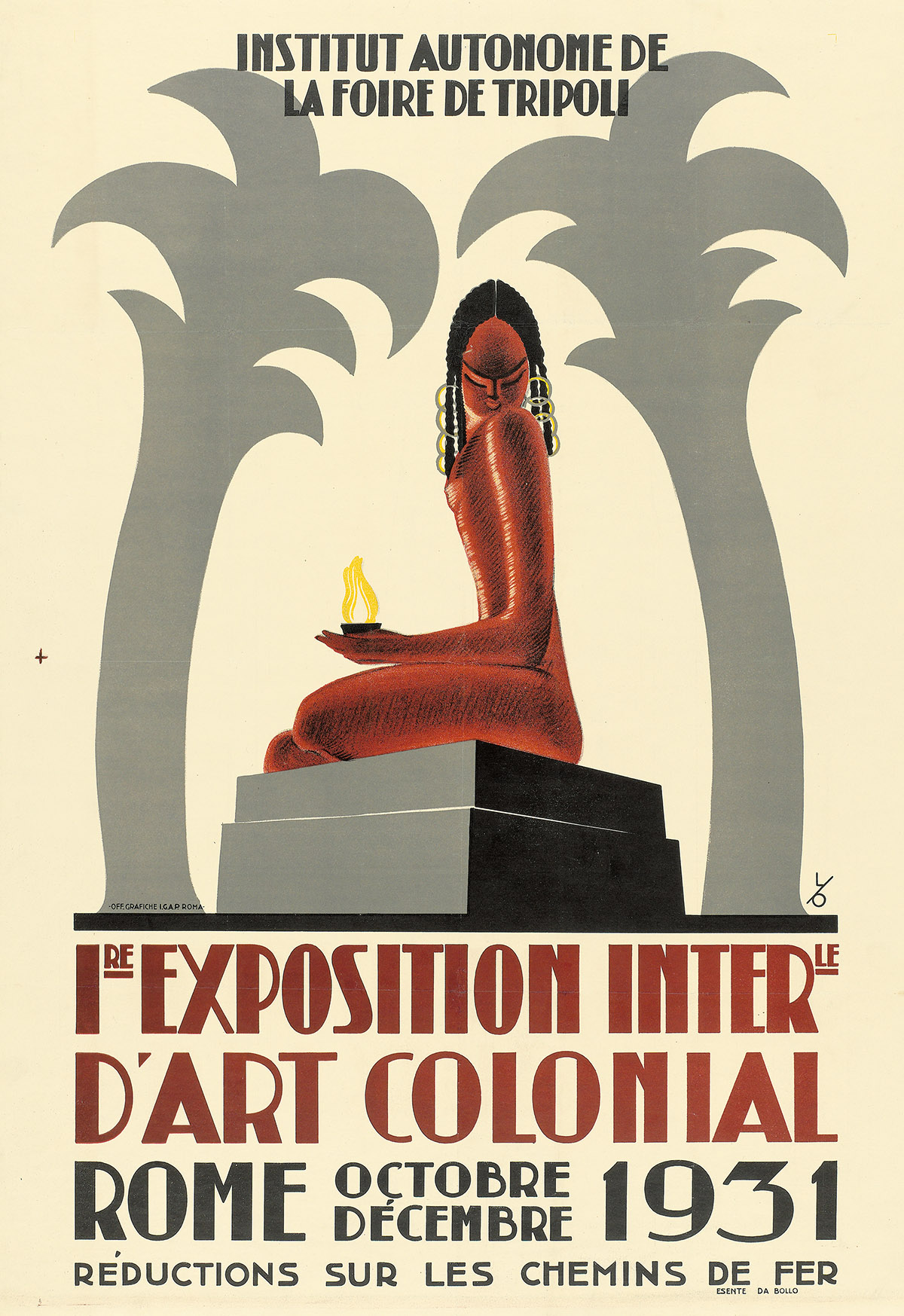 MONOGRAM UNKNOWN. 1RE EXPOSITION INTERLE DART COLONIAL / ROME. 1931. 31x23 inches, 78x58 cm. I.G.A.P., Rome.