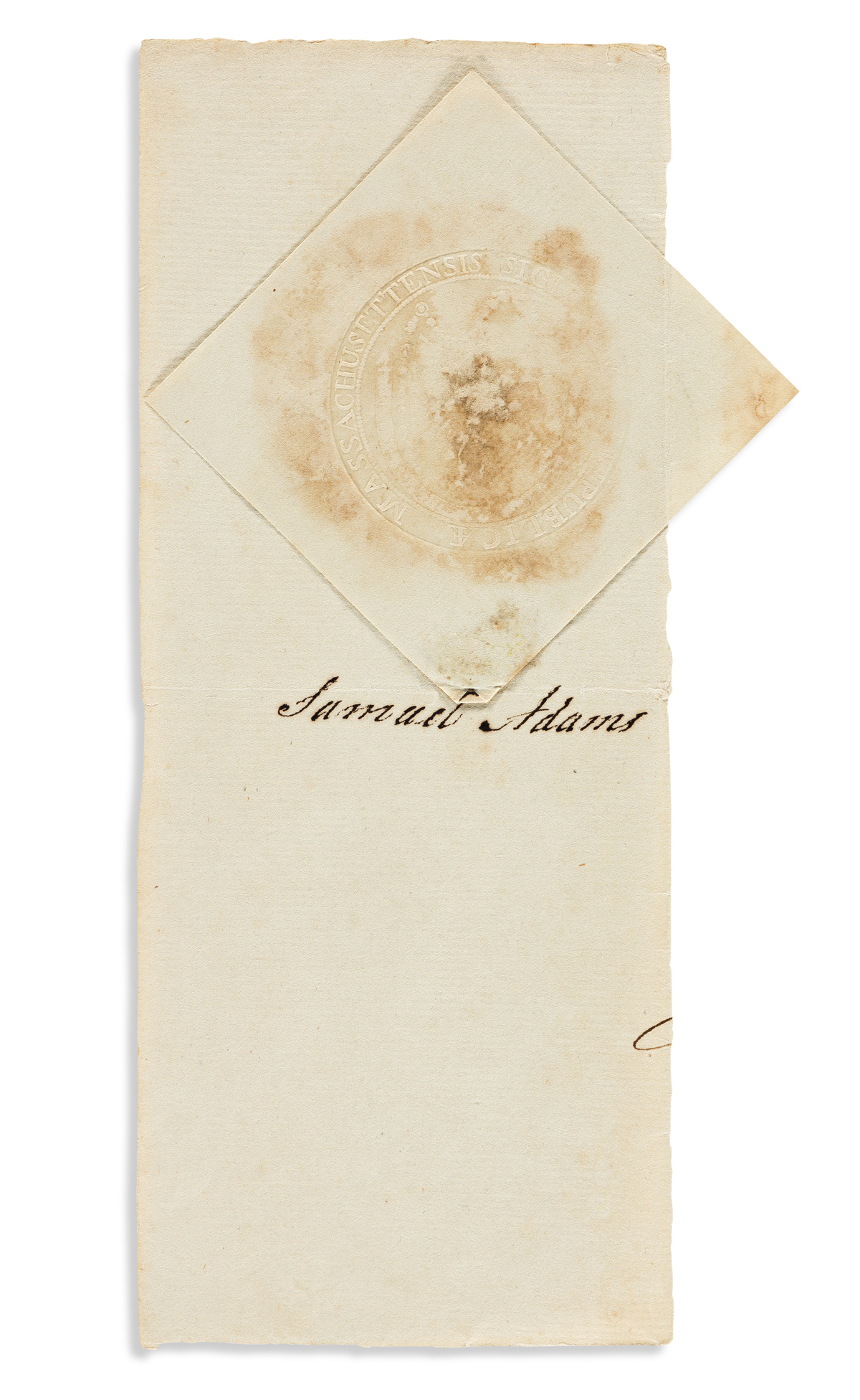 ADAMS, SAMUEL. Clipped Signature, on a fragment of a document,