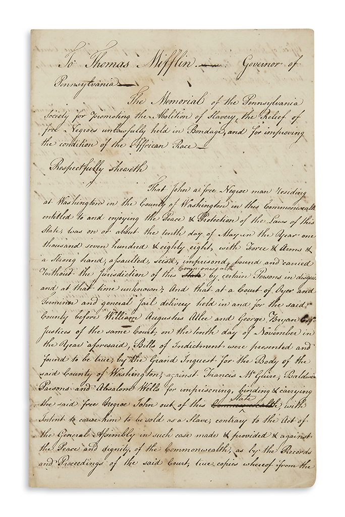 (SLAVERY AND ABOLITION.) Papers of an early Pennsylvania abolitionist, including the landmark kidnapping case of John Davis.