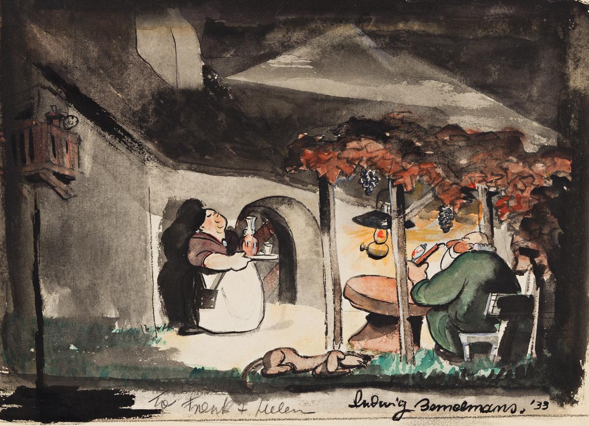 LUDWIG BEMELMANS (1898-1962) Couple in Lamp Light.