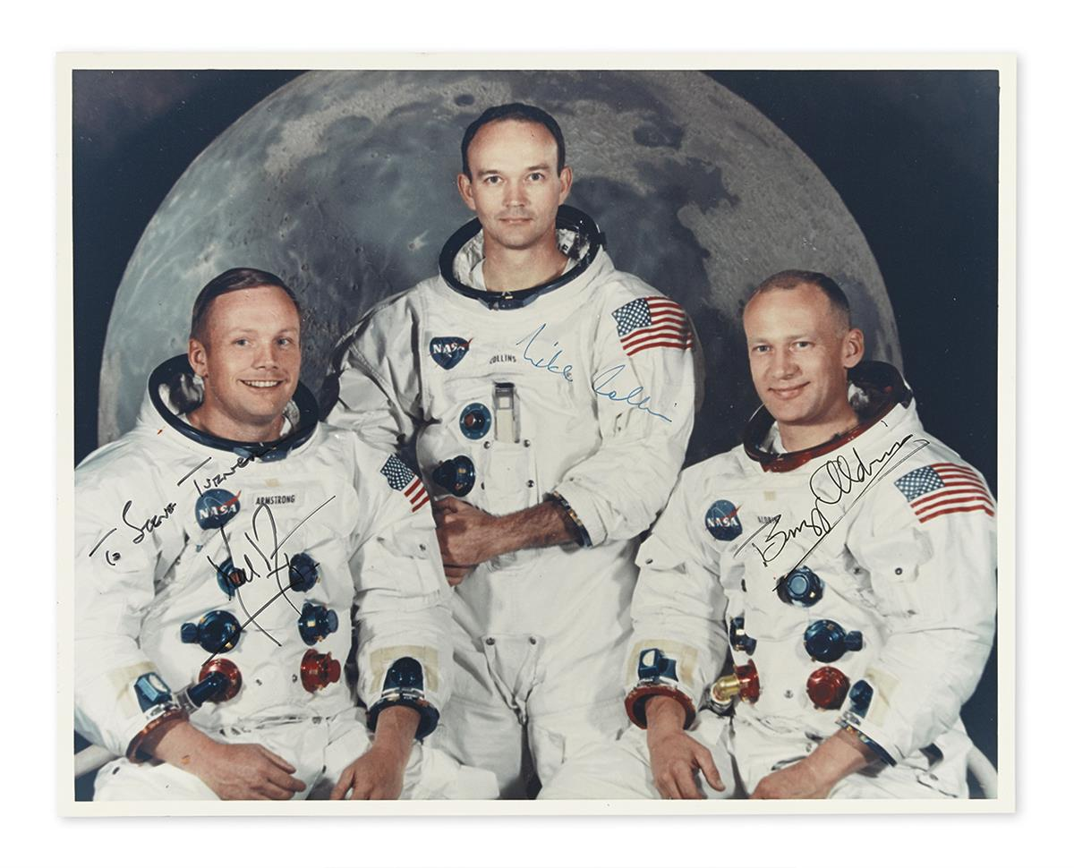 (ASTRONAUTS--APOLLO 11.) ARMSTRONG, NEIL; AND BUZZ ALDRIN; AND MICHAEL COLLINS. Photograph Signed, by each, additionally Inscribed by A
