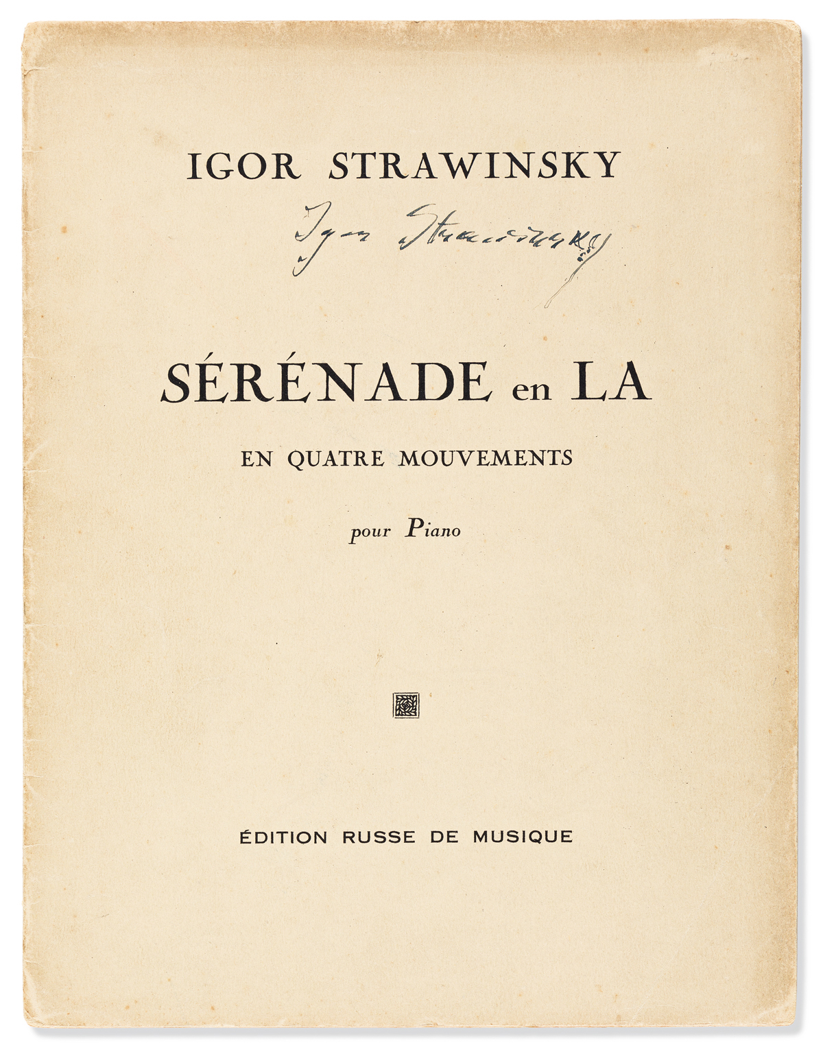 STRAVINSKY, IGOR. Group of three printed scores, each Signed on front cover: Rite of Spring * Serenade in A * Concerto in D.