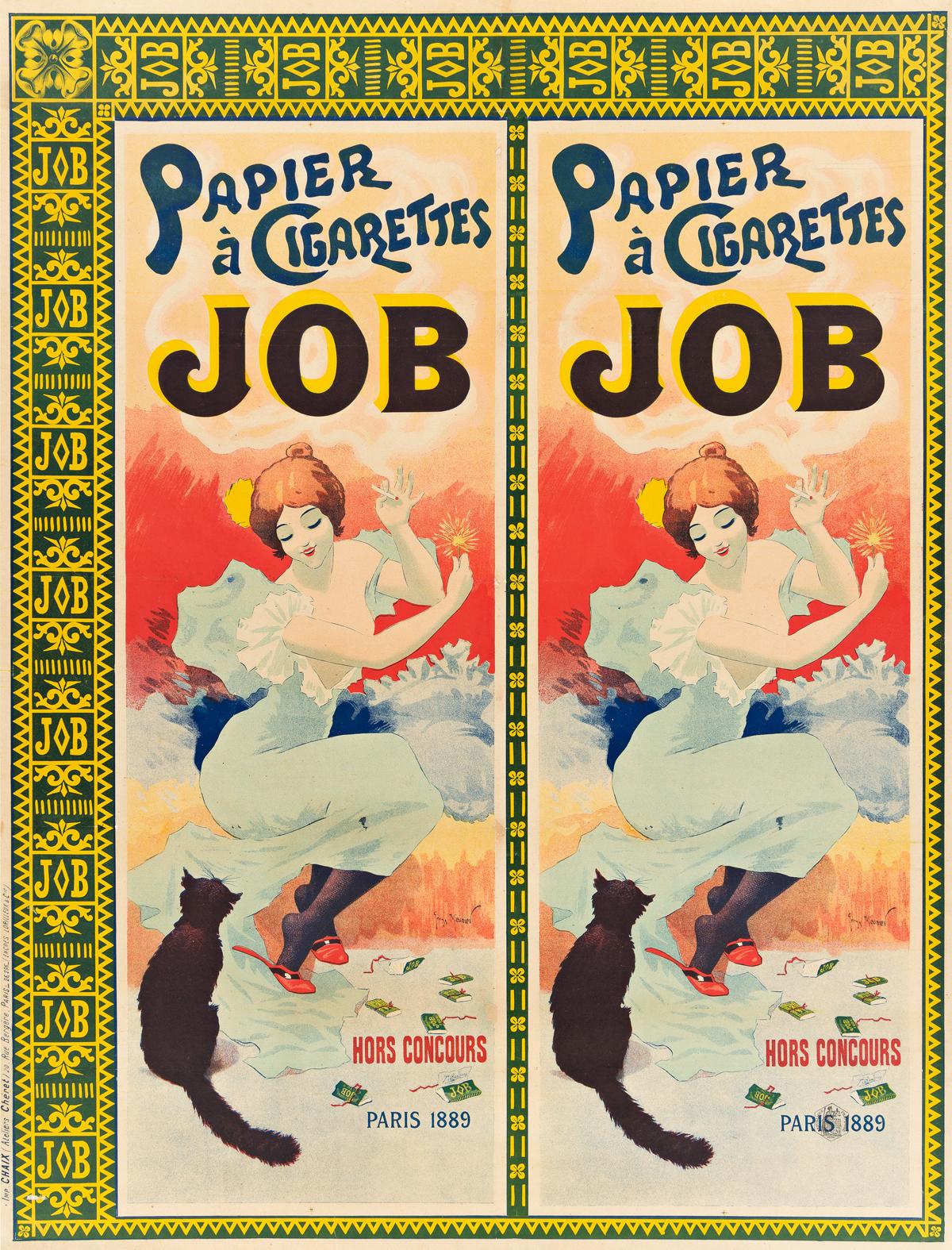 GEORGES MEUNIER (1869-1942).  JOB / PAPIER À CIGARETTES. 1894. 42¾x32½ inches, 108½x82½ cm. Chaix, Paris.