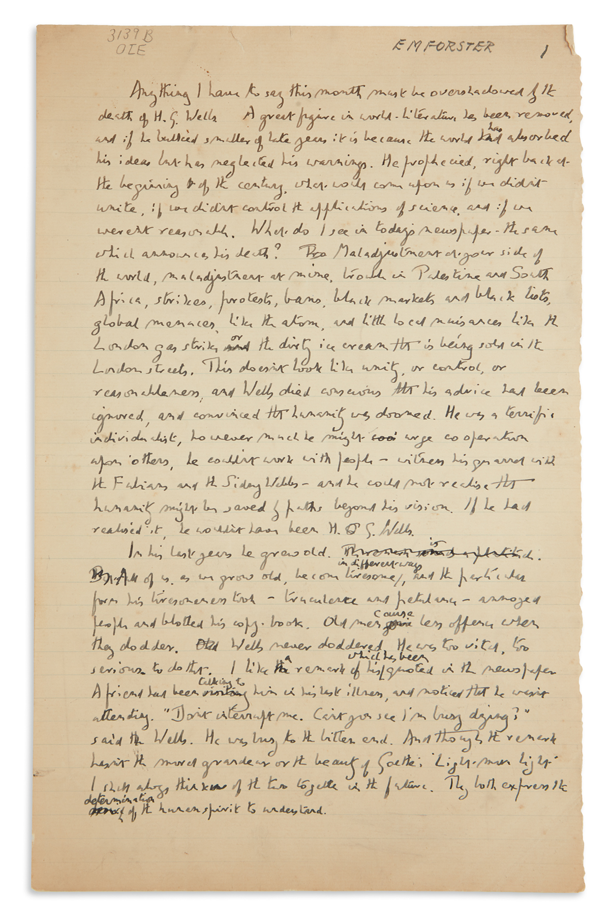 E.M. FORSTER. Autograph Manuscript, unsigned, working draft of a script for an episode of his Some Books radio program for BBC,