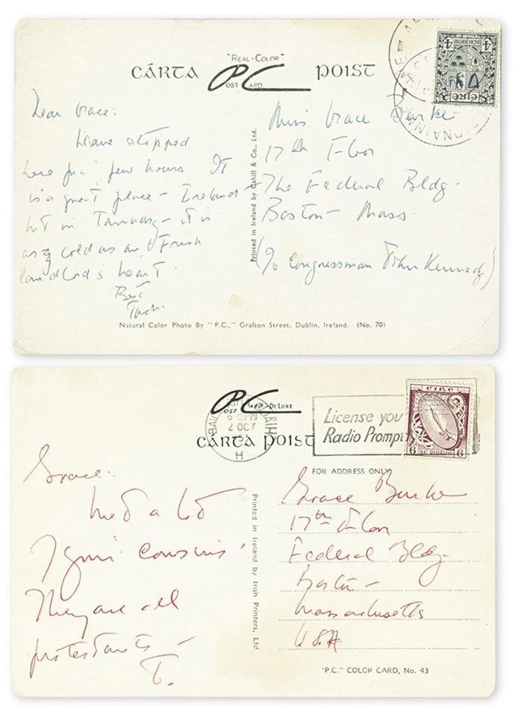 "KENNEDY, JOHN F. Two Autograph Postcards Signed, thrice (""J"" or ""Jack"" or ""John Kennedy""), as Senator, to his secretary Grace M. Burke."