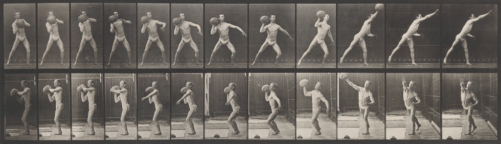 EADWEARD MUYBRIDGE (1830-1904) Man throwing large, spherical object, plate 319 from Animal Locomotion.
