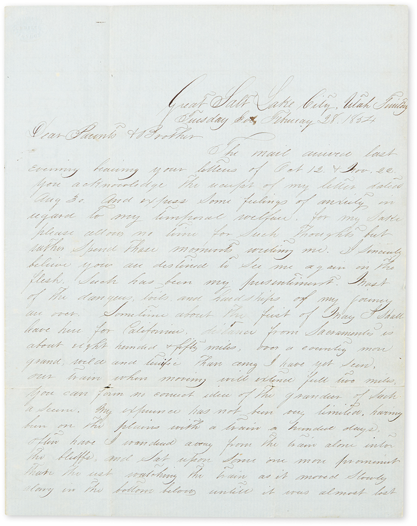 (MORMONS.) Group of letters and documents relating to the Mormons and Utah.