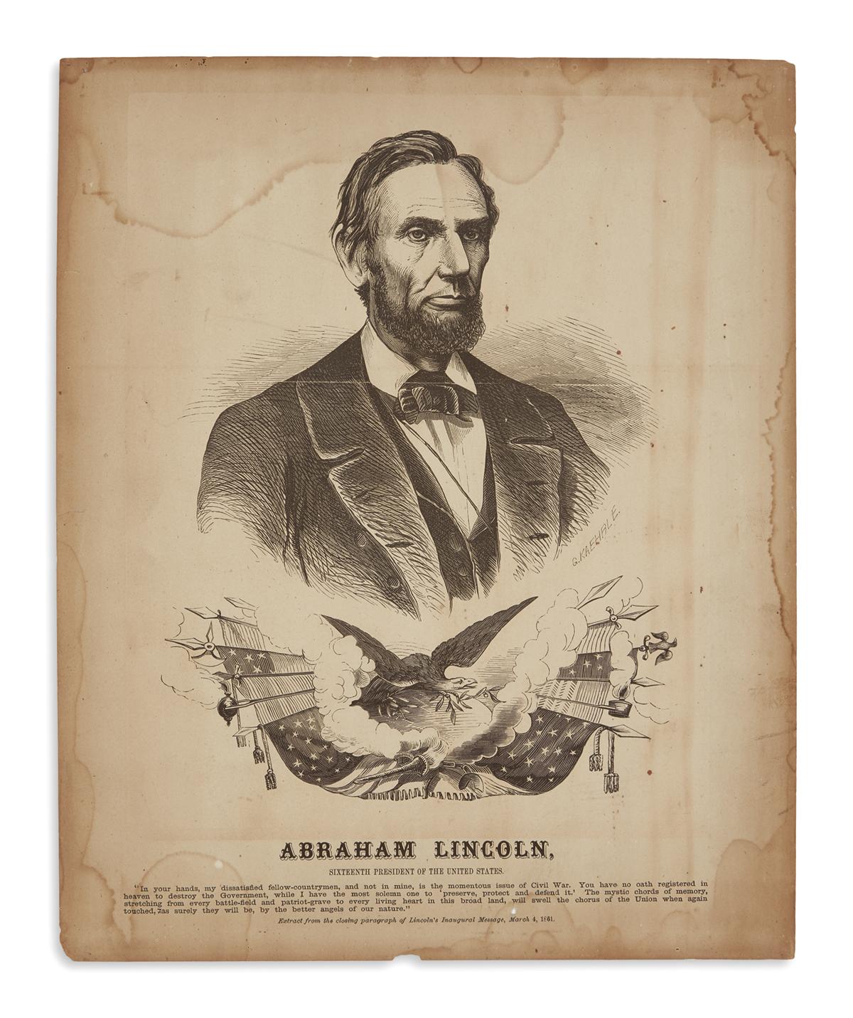 (PRINTS--PRESIDENTIAL)-Kaehrle-Gabriel;-engraver-Abraham-Lin