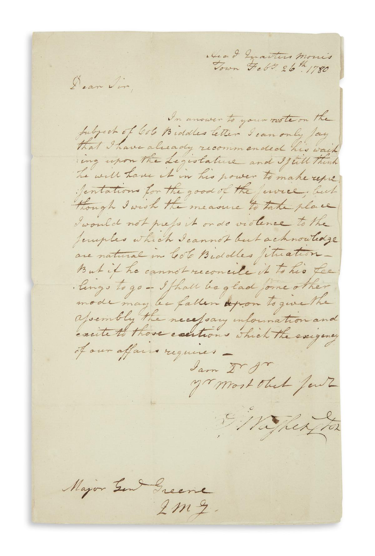 WASHINGTON, GEORGE. Letter Signed, G:Washington, to Major General Nathanael Greene,