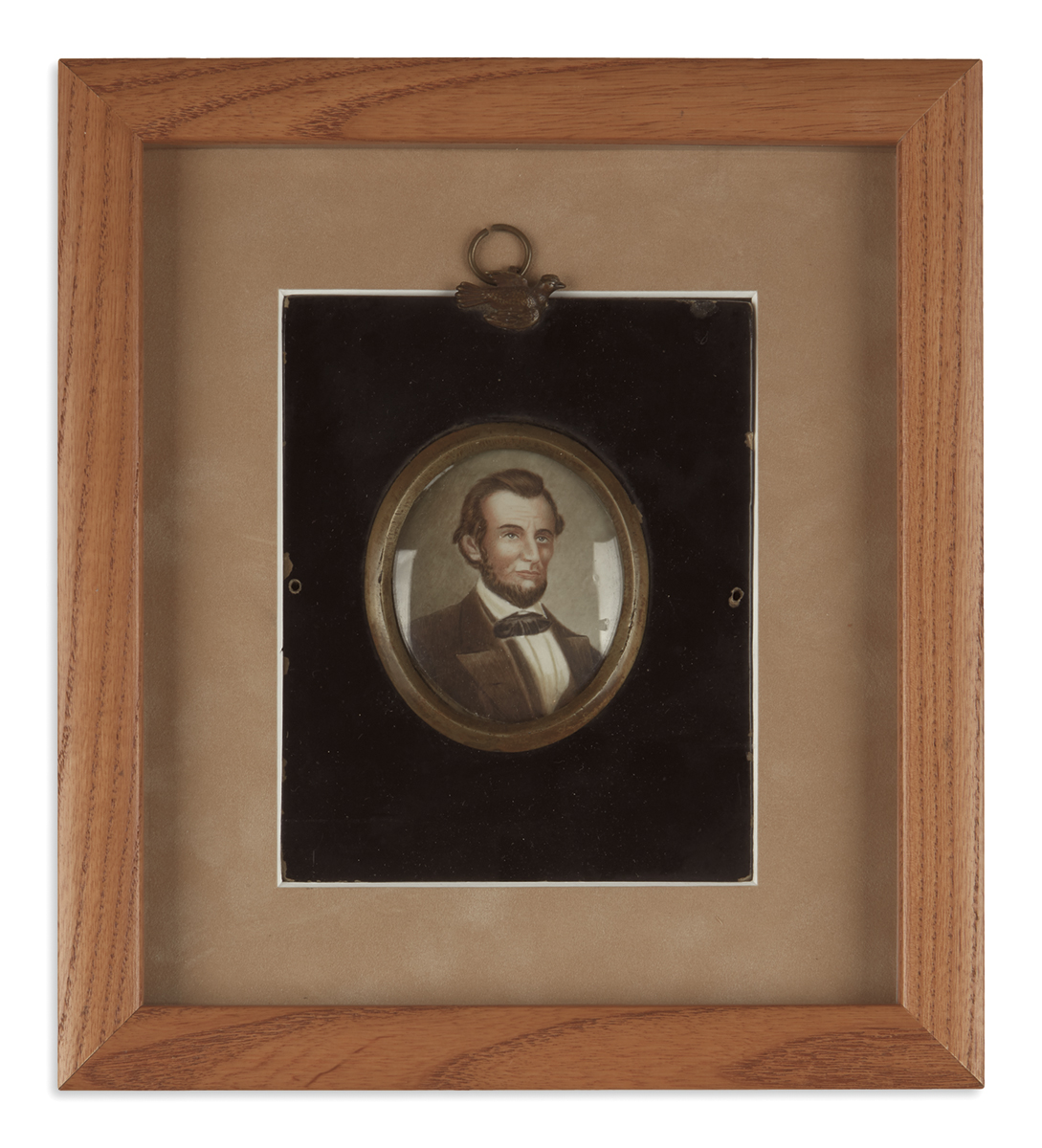 (PAINTINGS)-Unsigned-miniature-portrait-of-Lincoln-on-glass