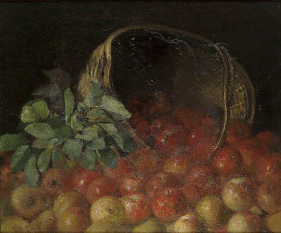 CHARLES ETHAN PORTER (1847 - 1923) Overturned Basket of Apples.