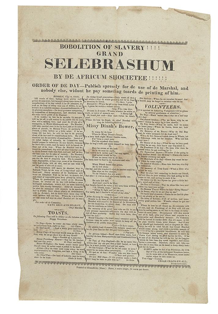 ANONYMOUS. Bobolition of Slavery!!!! Grand Selebrashun by de Africum Shocietee!!!! Order of de Day---Publish spressly for de use of de