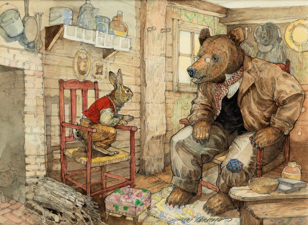 (CHILDRENS) JERRY PINKNEY. Brer Rabbit went in the house and him and Brer Bear sat down in the den.
