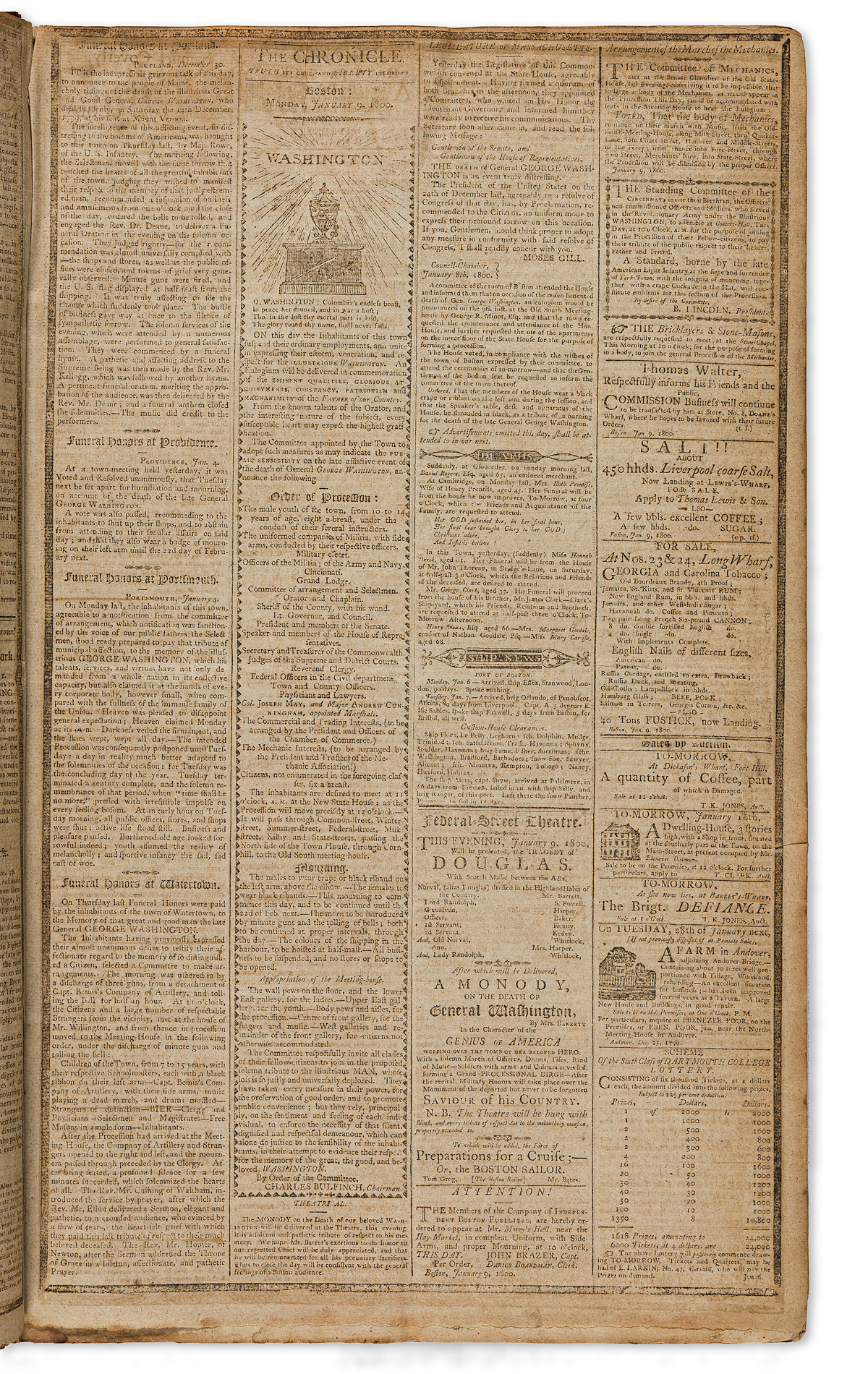 (GEORGE WASHINGTON.) A long continuous run of the Independent Chronicle of Boston, including funeral coverage and more.