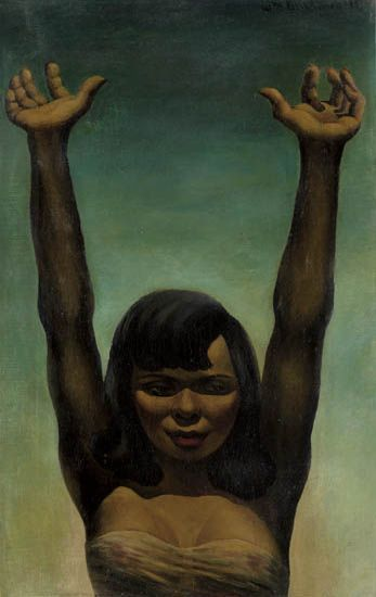 WILLIAM BLACKBURN (1908 - 1993) Untitled (Young Woman with Arms Raised).