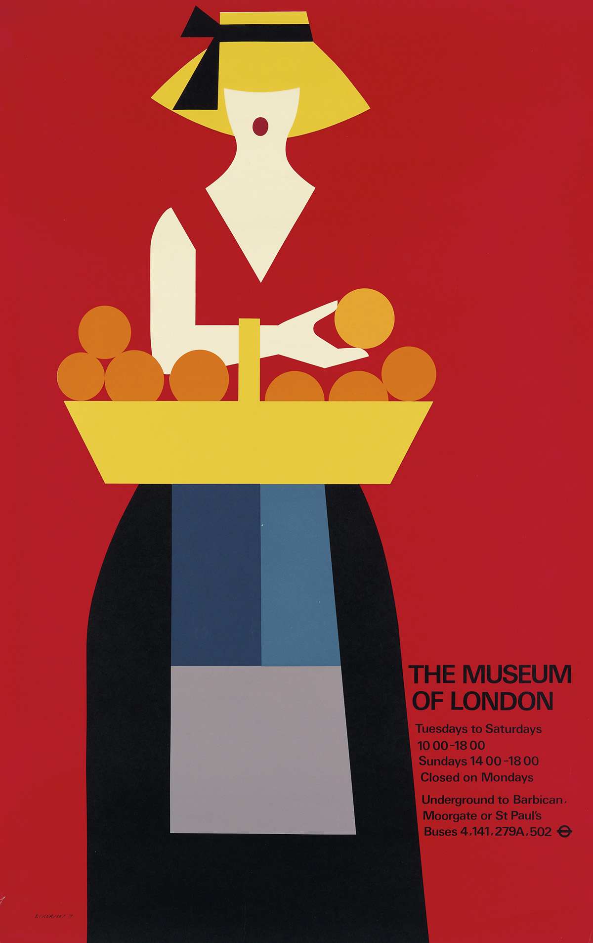 TOM ECKERSLEY (1914-1997). THE MUSEUM OF LONDON. 1977. 40x25 inches, 101x63 cm.