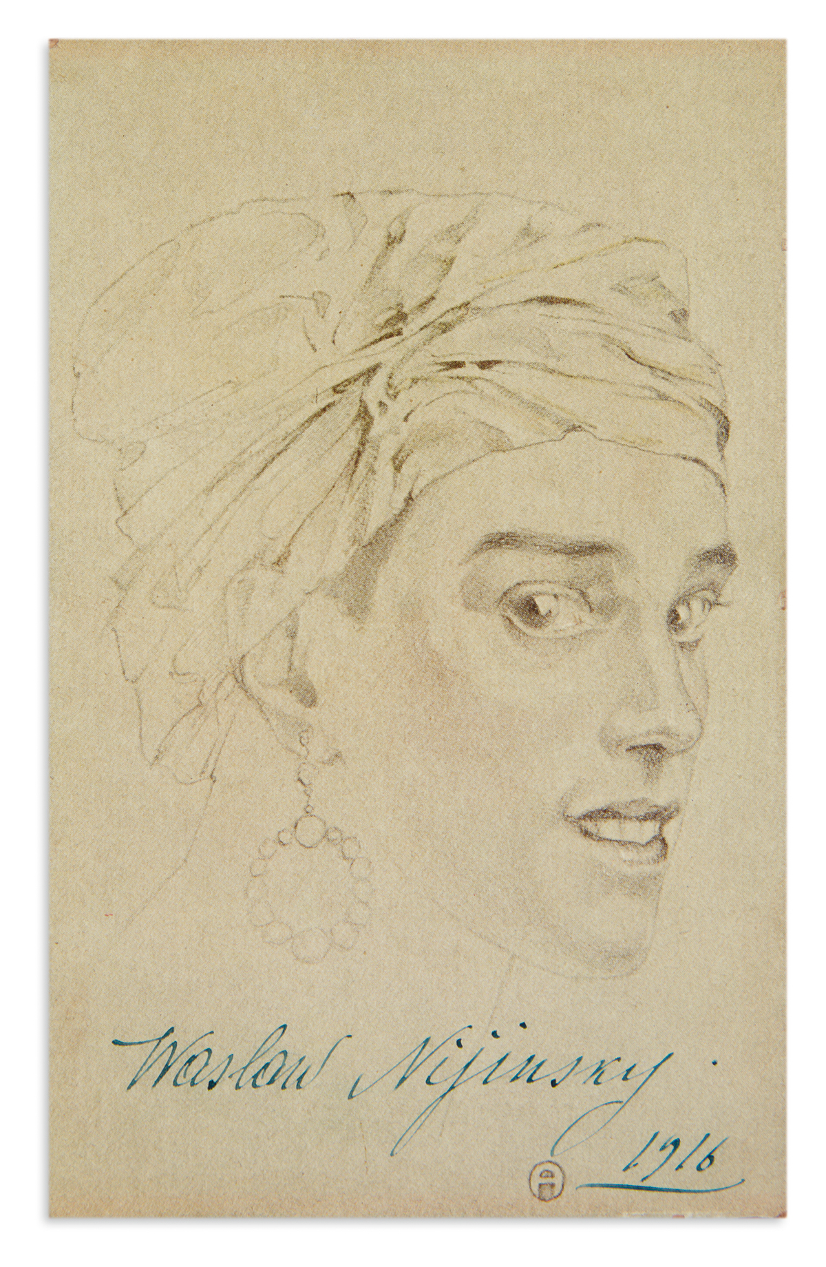 NIJINSKY-VASLAV-Photograph-Postcard-dated-and-Signed-Waslow-Nijinsky-showing-a-reproduction-of-a-graphite-drawing-of-his-head
