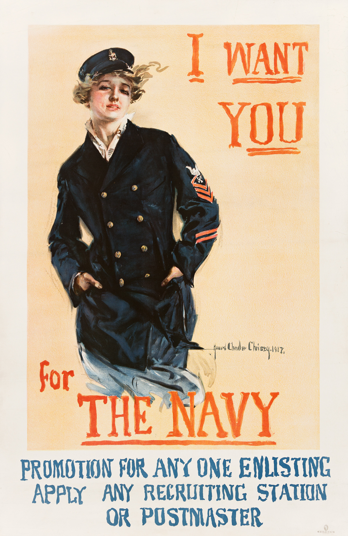 HOWARD CHANDLER CHRISTY (1873-1952).  I WANT YOU FOR THE NAVY. 1917. 41½x27 inches, 105½x68½ cm. Forbes, Boston.