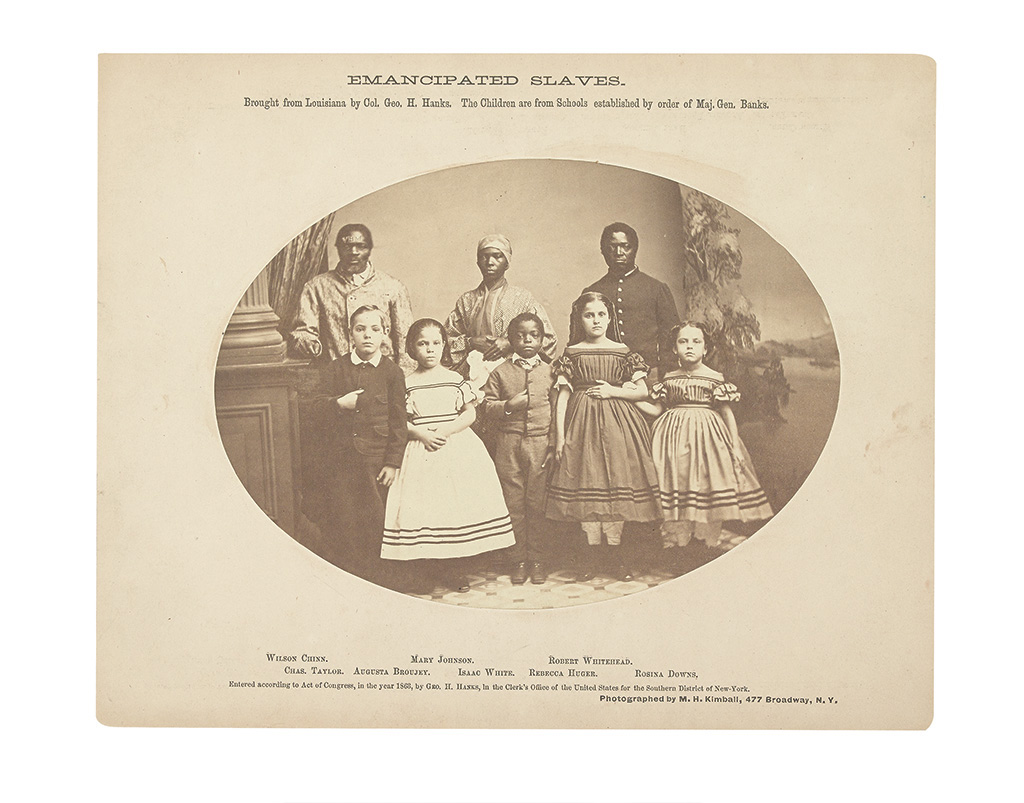 (MILITARY--PHOTOGRAPHY.) KIMBALL, M.H. Emancipated Slaves brought from Louisiana by Col. Geo. H. Hanks. The Children are from Schools e